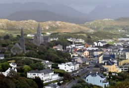 Kathleen 4 Clifden in Connemara with the steeples of Christ Church left and St Joseph's right.
