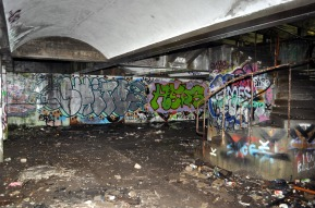 Cardross - the trashed interior of St Peter's College.