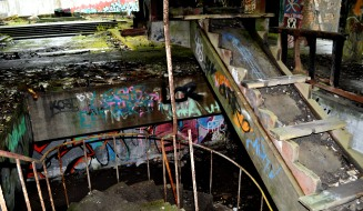 Cardross - the wrecked staircase leading to the college chapel at St Peter's
