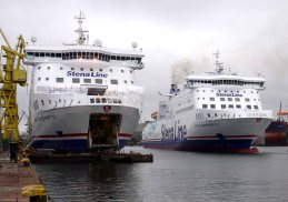 Side by side at the Remontowa shipyard in Poland, Stena Line's identical ferries Superfast VII and Superfast VIII are almost ready to make their debut on the company's Irish Sea route from its new Loch Ryan Port in Scotland to Belfast. Superfast VII left Poland this afternoon (Wednesday Nov 9) and is now making its way to Scotland where it will undergo a series of sea trials before going into service on Monday November 21. Superfast VIII is due to join her sister on the route soon after. The two vessels will be the biggest ships ever to sail between Scotland and Northern Ireland carrying up to 1 200 passengers, 660 cars or 110 freight units and will make the crossing in 2hours 15 minutes. The new ships will offer unprecedented levels of comfort on the Irish Sea with state-of-the-art facilities and even an onboard jacuzzi and sauna.