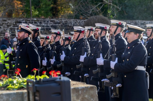 Pictured: Members of HMNB Clyde's Guard. Today 10 November 2019, in Helensburgh, Royal Navy Sailors and Submariners from nearby HM Naval Base Clyde joined local residents and dignitaries at Hermitage Park for this year's Remembrance ceremony. Events began and Hermitage Primary School, led by the Royal Navy guard and HMS Neptune Volunteer Band. The participants marched to the park's Garden of Remembrance. Taking the salute outside Victoria Halls was Naval Base Commander Clyde, Commodore Donald Doull, who also laid a wreath outside the town's cenotaph. MEMBERS of the Royal Navy attended Remembrance Services around Scotland today to honour those who made the ultimate sacrifice in defence of their country.