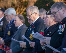 Pictured: Veterans on parade during the service. Today 10 November 2019, in Helensburgh, Royal Navy Sailors and Submariners from nearby HM Naval Base Clyde joined local residents and dignitaries at Hermitage Park for this year's Remembrance ceremony. Events began and Hermitage Primary School, led by the Royal Navy guard and HMS Neptune Volunteer Band. The participants marched to the park's Garden of Remembrance. Taking the salute outside Victoria Halls was Naval Base Commander Clyde, Commodore Donald Doull, who also laid a wreath outside the town's cenotaph. MEMBERS of the Royal Navy attended Remembrance Services around Scotland today to honour those who made the ultimate sacrifice in defence of their country.