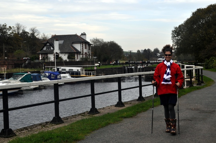 Bowling - singer Elena Piras enjoys a walk by the canalside at Bowling.