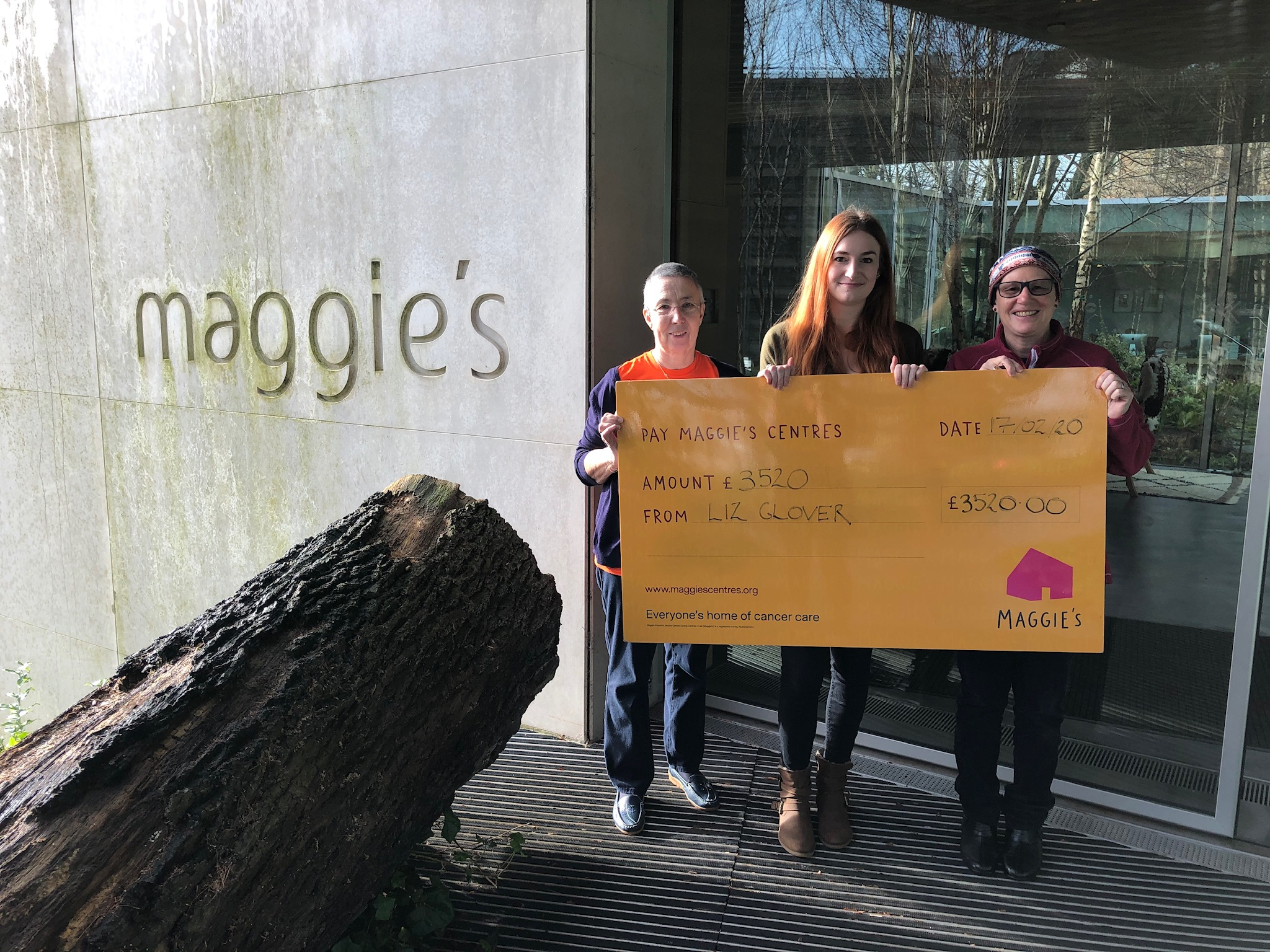 BUMPER CHEQUE FOR MAGGIE'S FROM TINA AND LIZ