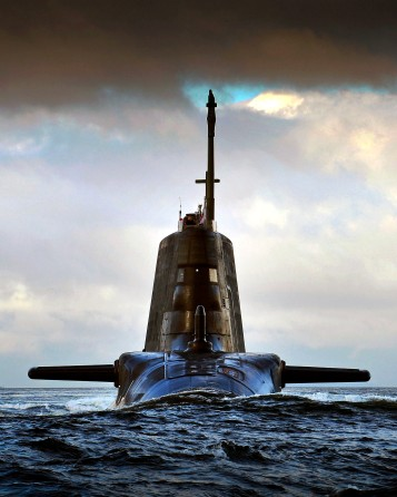 CPOA(Phot) Thomas 'Tam' McDonald; Pictured is HMS AMBUSH returning to HMNB Clyde on the Clyde estuary under moody summer skys Scotland..