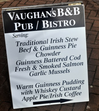 Clifden menu for Vaughan's