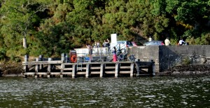 Fair 12 A man jumps from the pier at Balmaha on Loch Lomond