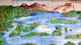 Loch Lomond map on wall at Inchconnachan